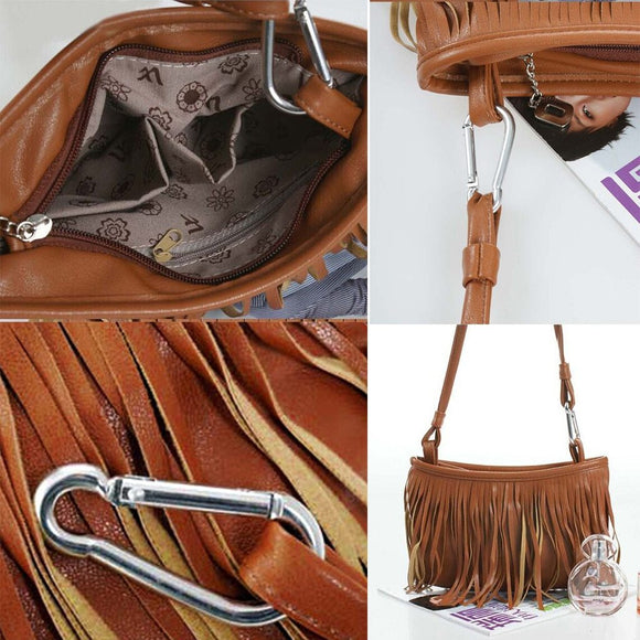 New Ladies Simple Fringed Leather Shoulder Bag Crossbody Flap Soft Handbags