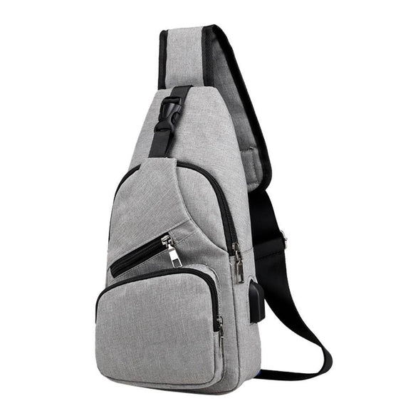 New Multinational Travel Sling Shoulder USB Charge Chest Bag For Men