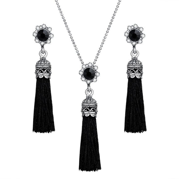 New Fashion Tassel Flower Drop Jewelry Set For Women