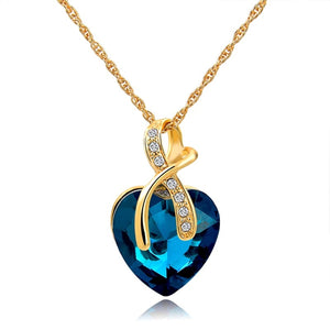 New Austrian Crystal Heart Gold Plated Necklaces & Pendants