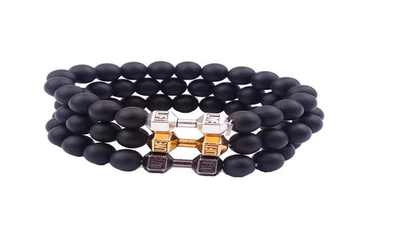 Black Stone Beads Dumbell Bracelet