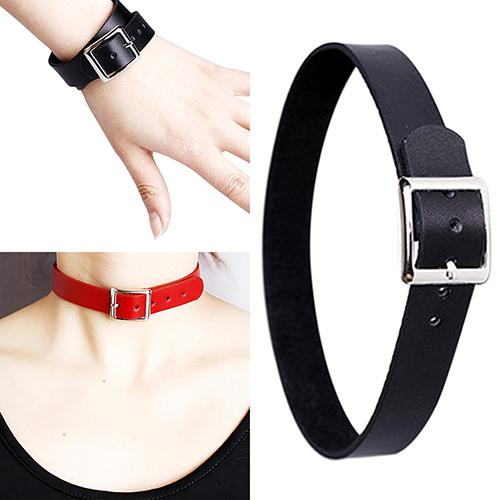 Faux Leather Belt Buckle Collar Choker Punk Style Necklace