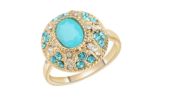 Antique Gold Color Mosaic Gray Crystal Ring For Women