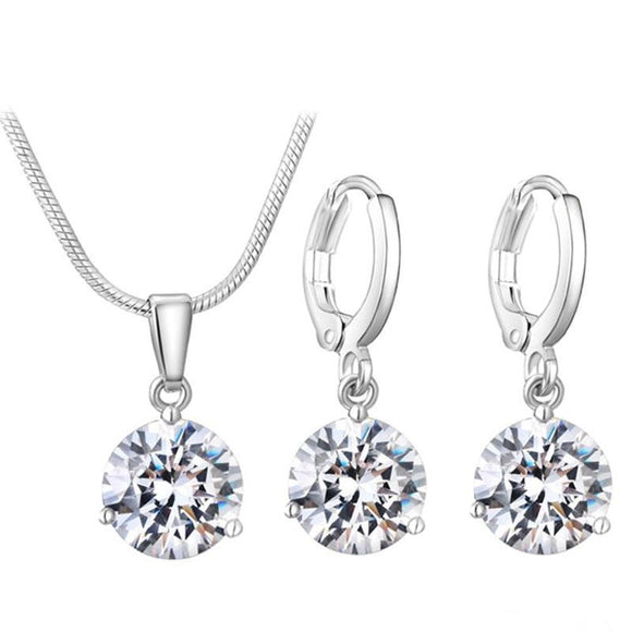 New Round Cubic Zircon Hypoallergenic Copper Jewelry Sets