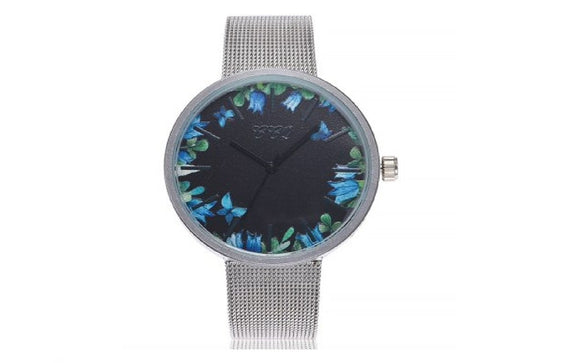 New Fashionable Cute Print Flowers Casual Mesh Ladies Wrist Watch