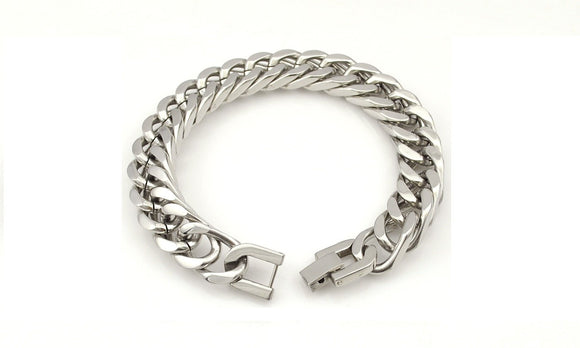 Silver Color Stainless Steel Bracelet & Bangle For Male