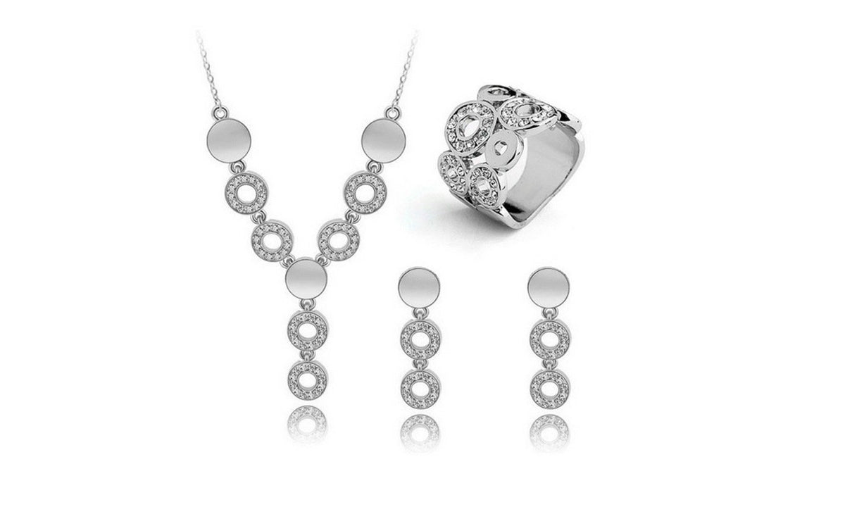 Finger Ring Austrian Crystal Dangle Earrings Set for Women