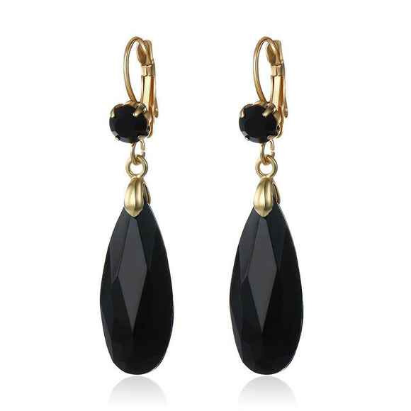 New Black Crystal Stone Water Drop Earrings
