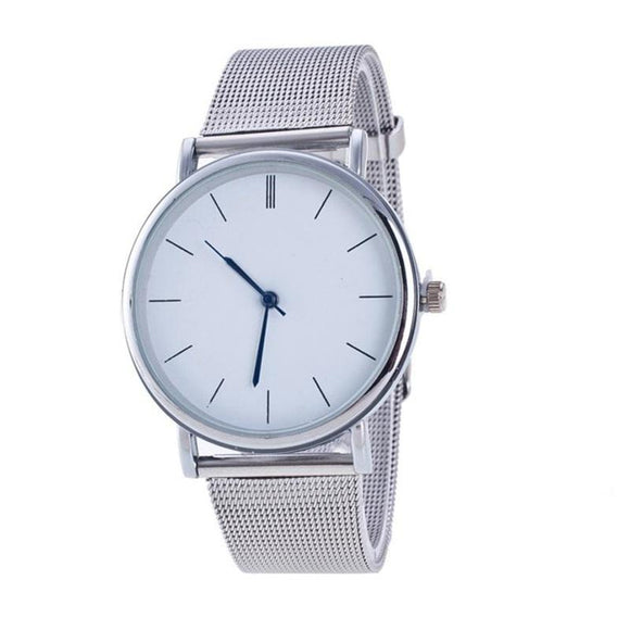 New Fashion Silver Mesh Stainless Steel Wrist Watch