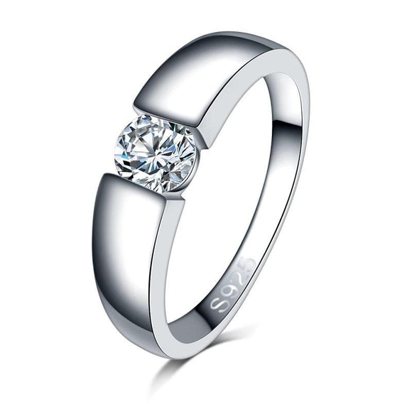 Stylish Silver Cubic Zircon Engagement Rings
