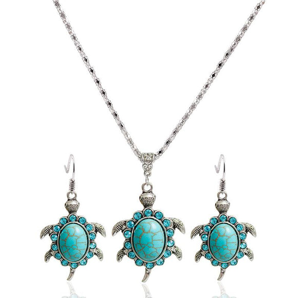 New Antique Silver Color Turtle Shaped Jewelry Set