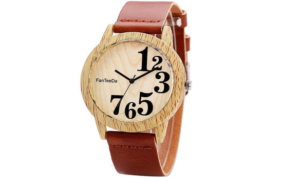 Wooden Leather Strap Quartz Watch for Women