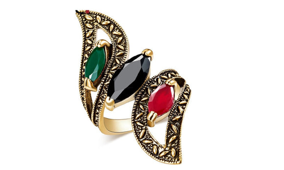 Antique Gold Color Mosaic Colorful Resin Rings For Women