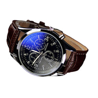 New Fashion Faux Leather Blue Ray Men Wrist Watch - sparklingselections