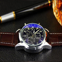 New Fashion Faux Leather Blue Ray Men Wrist Watch