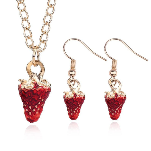 New Golden Red Strawberry Shape Jewelry Set