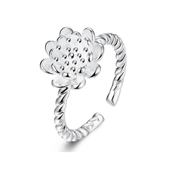 New Fashion Silver plated Flower Design Finger Ring