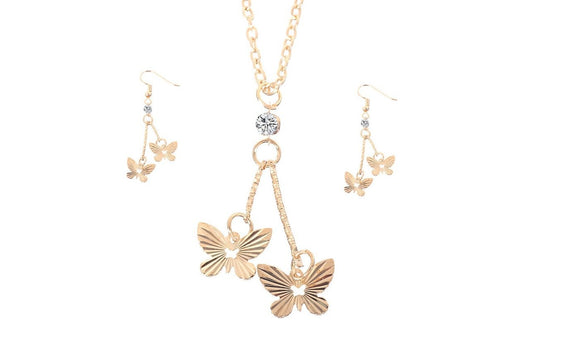 New Gold Color Butterfly Shape Dangle Jewelry Set