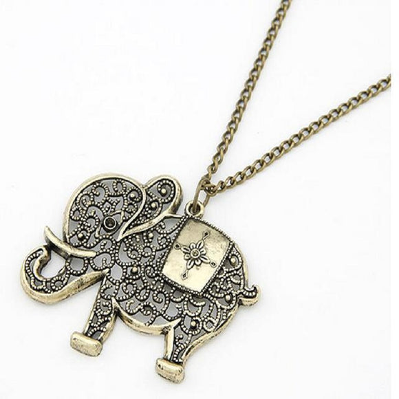 New Fashion Vintage Hollow Out Elephant Metal Pendant Necklace