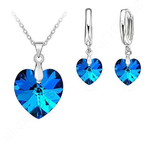 New Sterling Silver Crystal Ocean Heart With Lever Back Jewelry Set