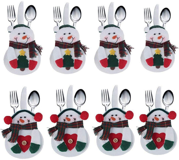 Christmas Tableware Holders Set, White Snowman Knife and Fork Bags for Decoration