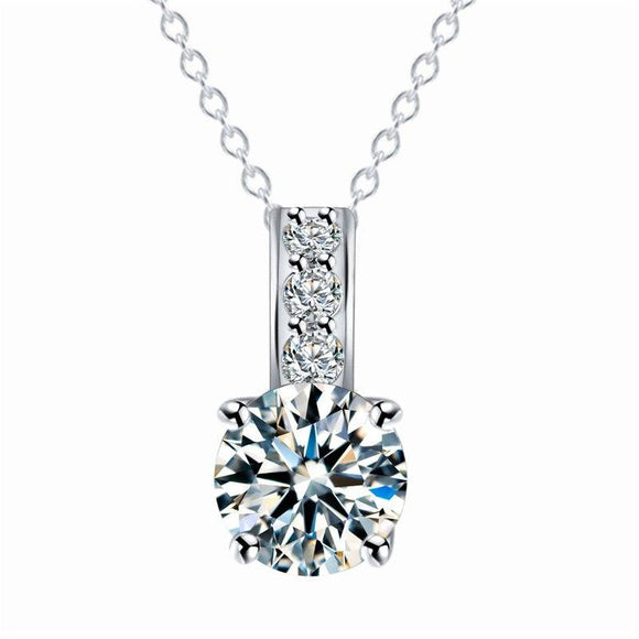New Silver Plated Cubic Zirconia Pendant Neckalce