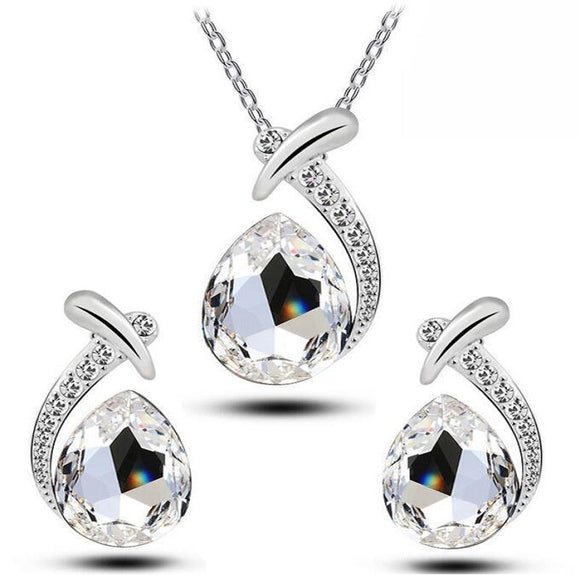 New Austrian Crystal Water Tear Drop Jewelry set