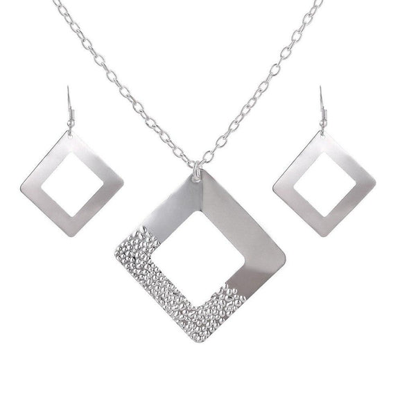 New Silver Plated Square Design Shape Jewelry Sets