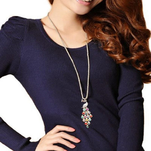 New Trendy Peacock Long Colorful Crystal Necklaces & Pendants