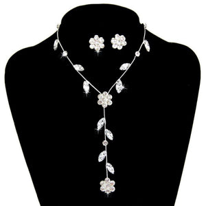 New Stylish Flower Leaves Rhinestone Jewelry Set