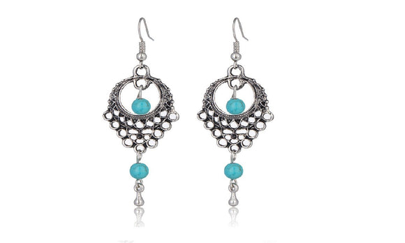 Women Blue Beads Dangle Beautiful Earrings