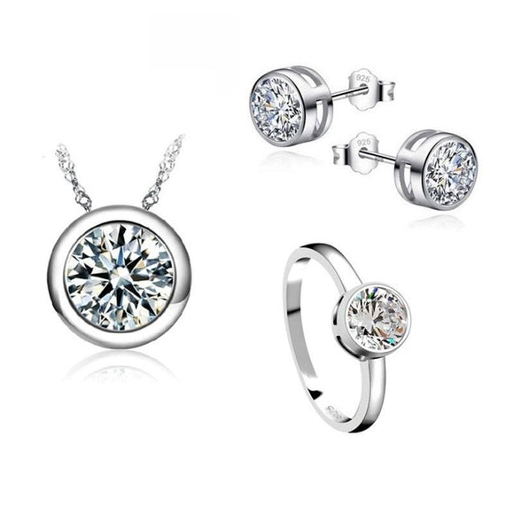 New Sterling Silver Shinny CZ Wedding Jewelry Set