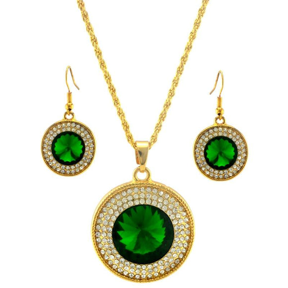 Austrian Crystal Gold Color Rhinestone Earrings Pendant Jewelry Set