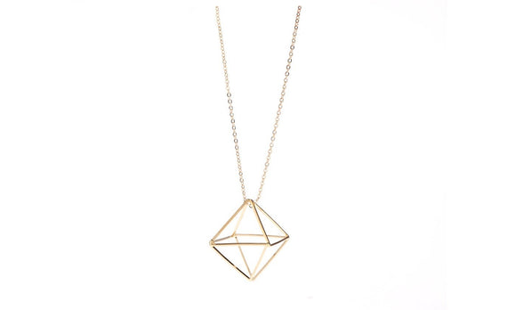 geometry line three-dimensional hollow triangle long sweater chain