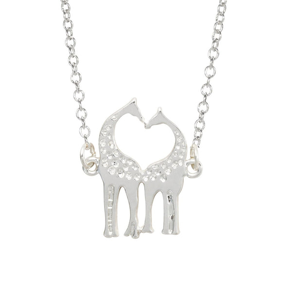 New Silver Plated Double Giraffe Chain Link Pendant Necklace