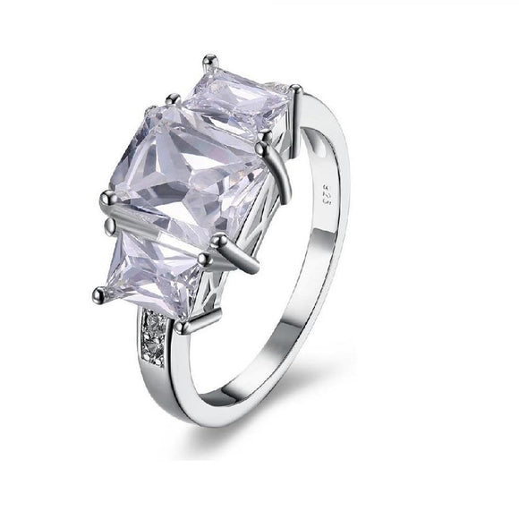 New Fashion Silver Plated Square Zircon Ring