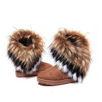 Women Flat Ankle Snow Boots Fur Boots Winter Warm - sparklingselections