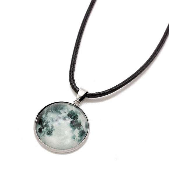 New Glass Cabochon Dark Galaxy Moon Pendant For Women