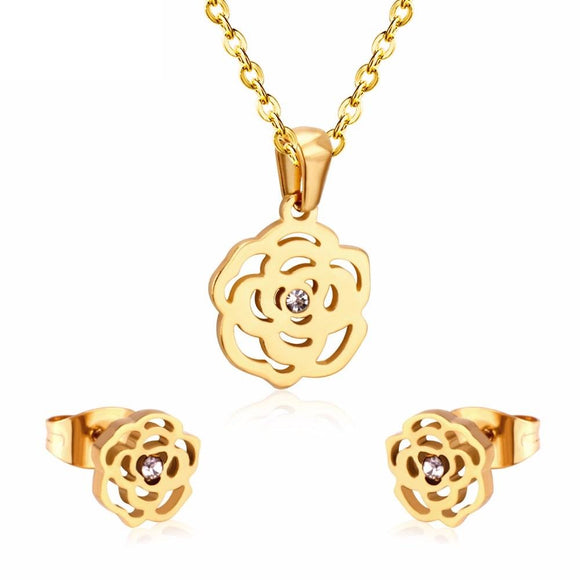 New Stainless Steel Flower Gold Color Jewelry Set