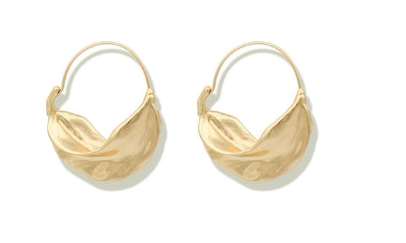 Irregular Leaf Metal Large Hoop Earrings for Women
