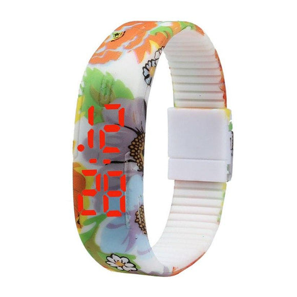 New Stylish Casual Flower Silicone Bracelet Digital Wristwatches
