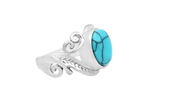 Leaf Plant Blue Stone Rings For Women