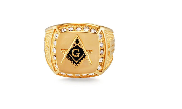 New Fashion Vintage Crystal Masonic Gold Color Ring