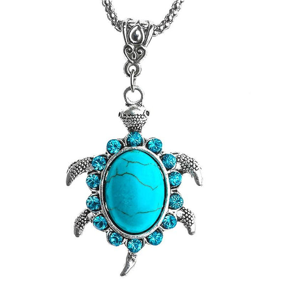 New Turquoise Rhinestone Turtle Shaped Silver Pendants Necklace