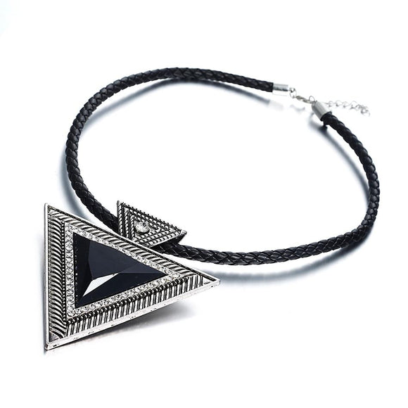 New Triangle Rope Chain Chokers Statement Pendant Necklace
