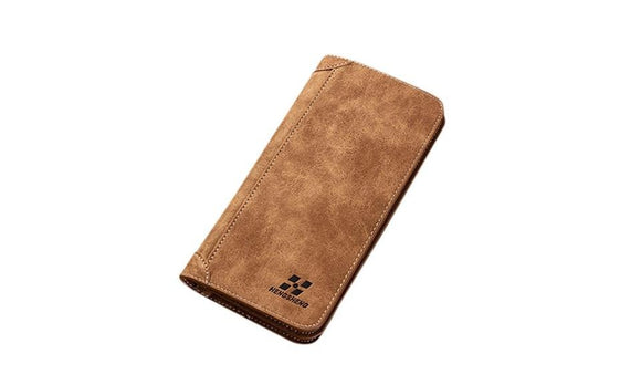 Men Blocking Long Section Leather Wallet