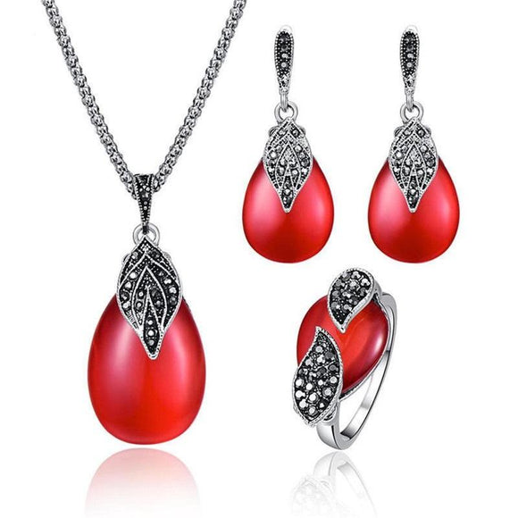 New Stylish Water Drop Shape Red Opal Jewelry Sets