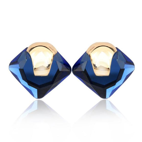 New Blue Crystal Rhinestone Square Stud Earrings