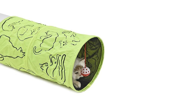Cat Printed Green Lovely Crinkly Kitten Tunnel Toy With Ball Play