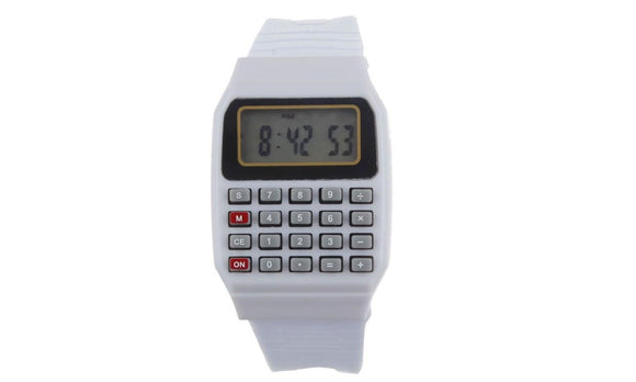 Unisex Silicone Multi-Purpose Date Time Electronic Wrist Calculator